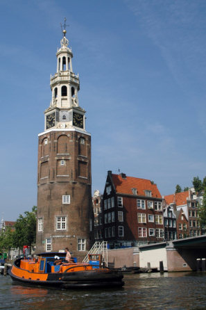 The Montelbaanstoren Clock Tower ( on the Canal Oudeschans)