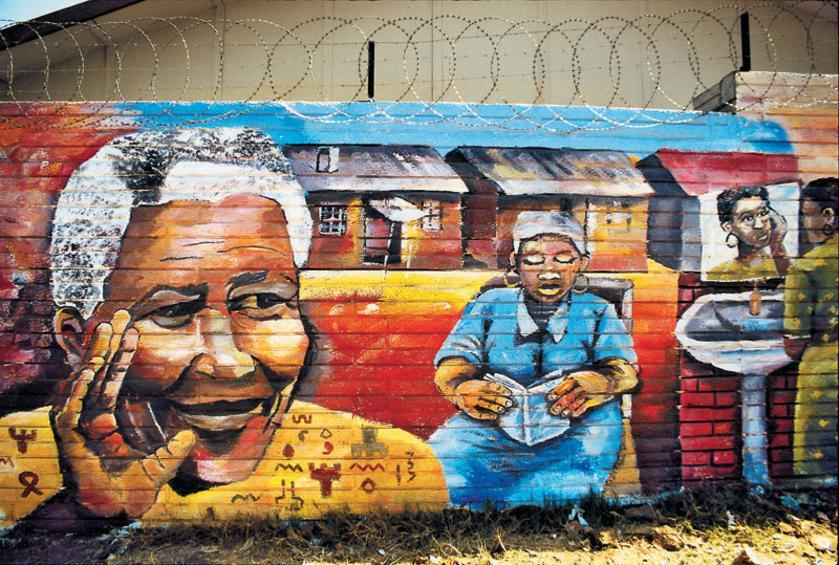 Γκράφιτι με εύλογο περιεχόμενο και νόημα - ο Νέλσον Μαντέλα ξεκίνησε από το Κέιπ Τάουν την ειρηνική ανατροπή του απαρτχάιντ.