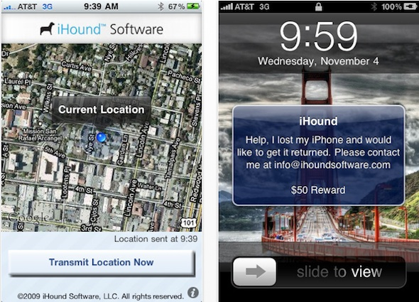 iHound locate iPhone MobileMe-like